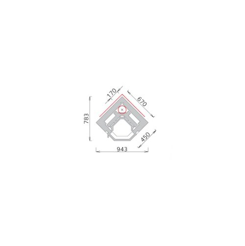 Tulikivi speksteenkachel KTU 1130/3D plattegrond