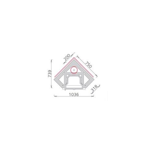 Tulikivi speksteenkachel KTU 1410/92 plattegrond