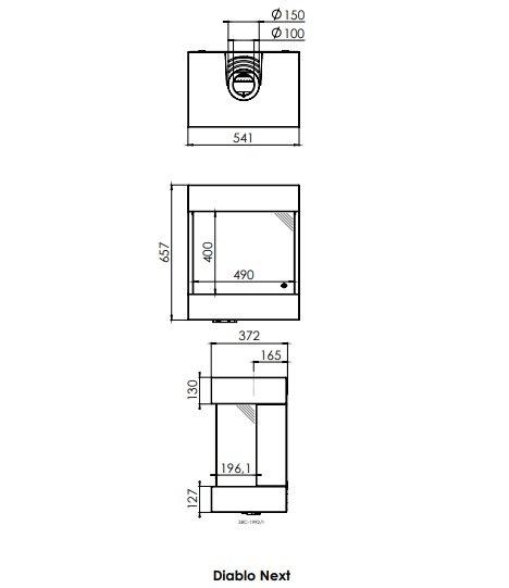 Dru diablo next gashaard hangende gaskachel 3 zijdig glas panorama maattekening