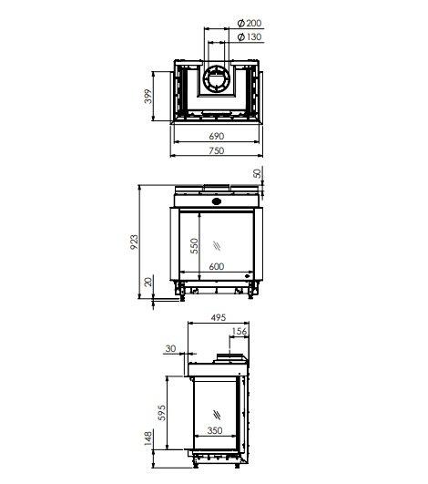 Dru maestro 60/3 eco wave gashaard 3 zijdig glas panorama maattekening